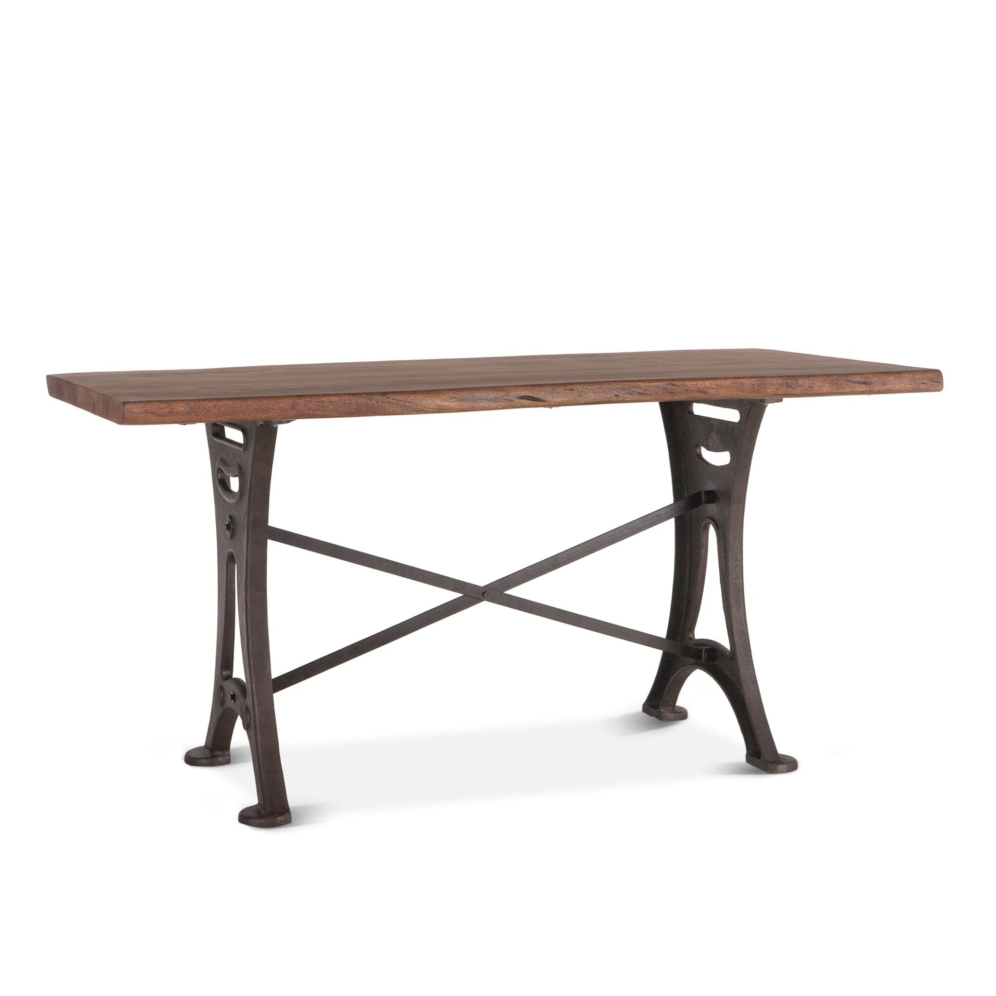"72"" Counter Height Rustic Gathering Table Industrial Iron"