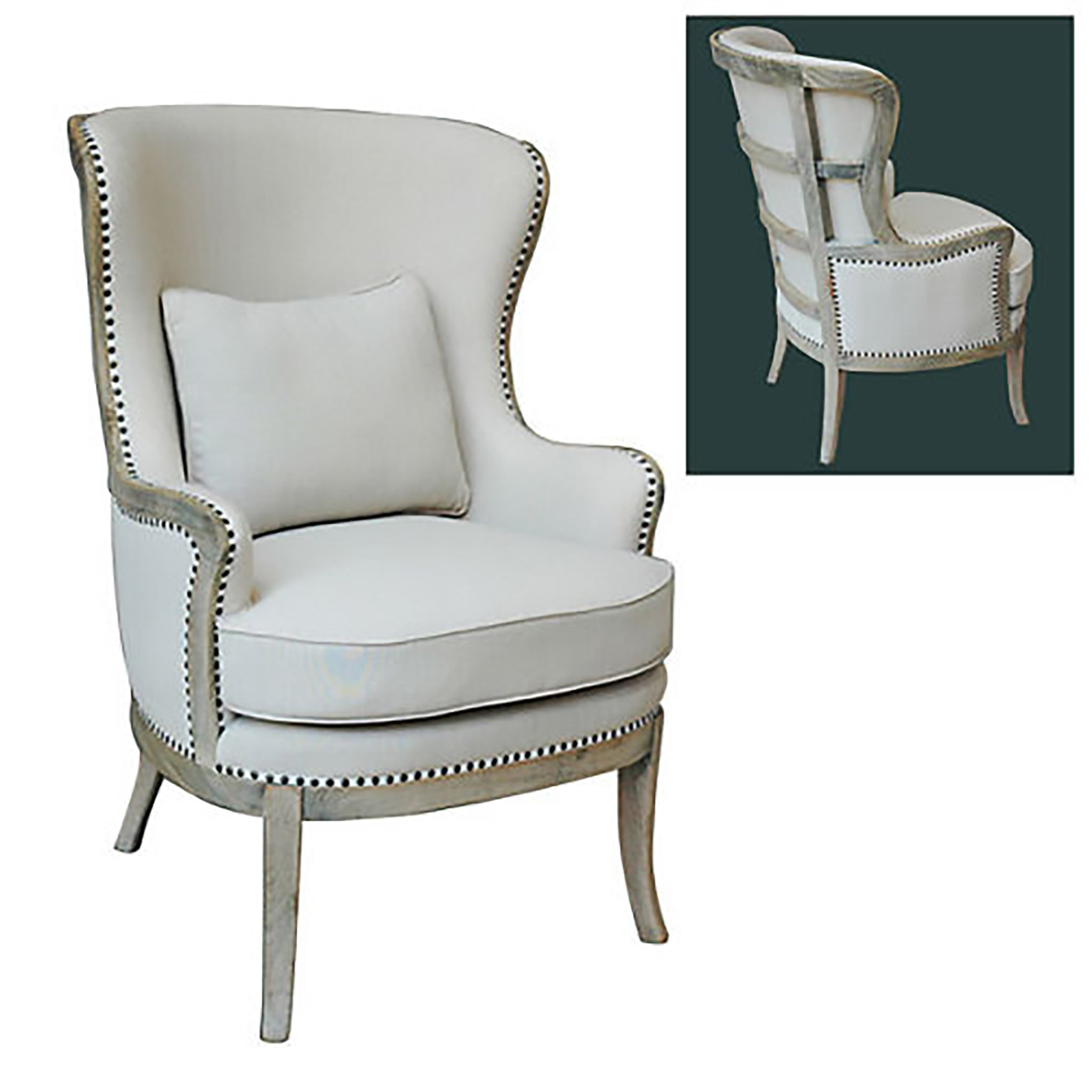 French Upholstered Accent Armchair, Linen-Wood Accented Back - Furniture on Main