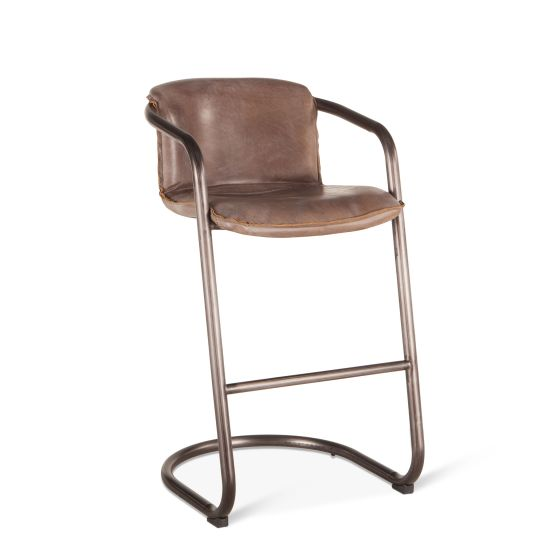 Metal Stationary Bar Height Barstool Set of 4 Stools Antique Brown Leather