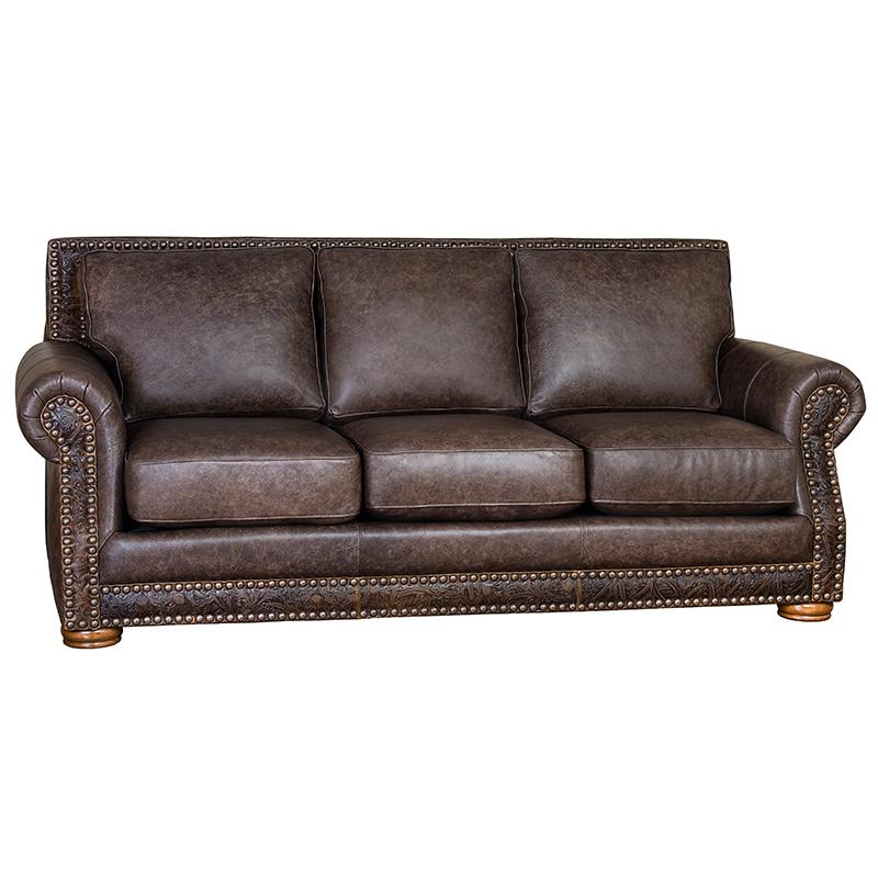 Western Tooled Bandwagon Leather Sofa