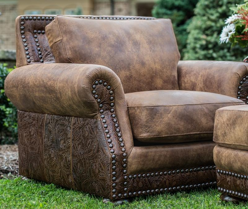 Western Stallone Leather Chair and Ottoman