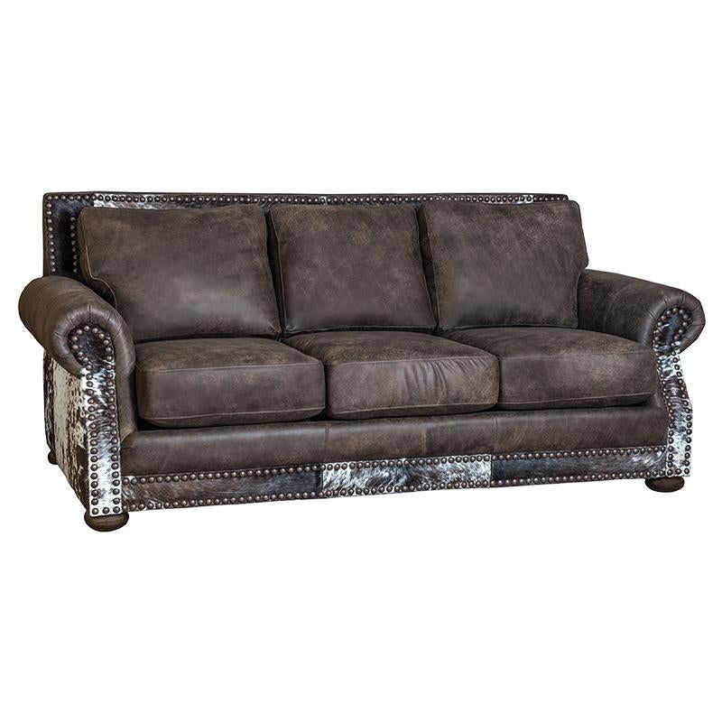 Western Hair on Hide and Leather Sofa Timber