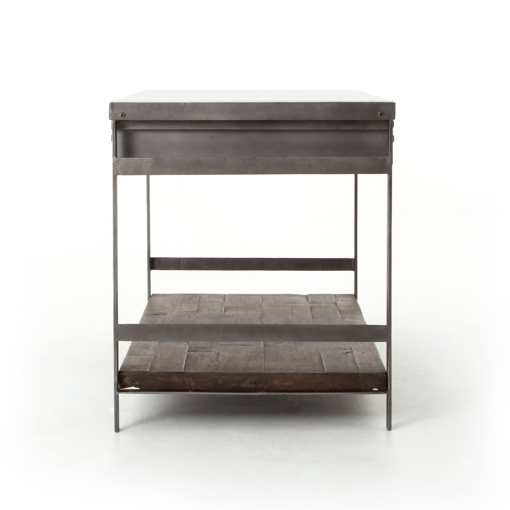 Farmhouse Open Storage Kitchen Island - Furniture on Main