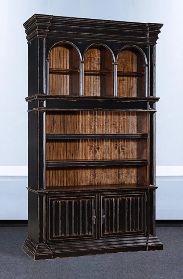 Old World Aged Black Distressed Cathedral Bookcase