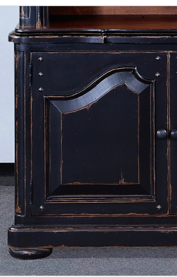Old World Aged Black Distressed Bookcase