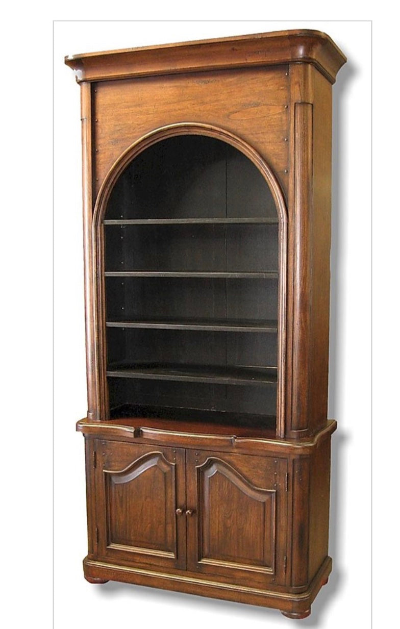 Old World Distressed Walnut Distressed Bookcase