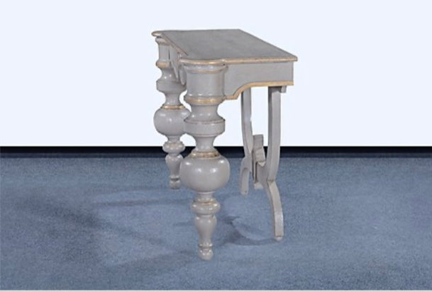 Console Table in Pewter with Gold Accents