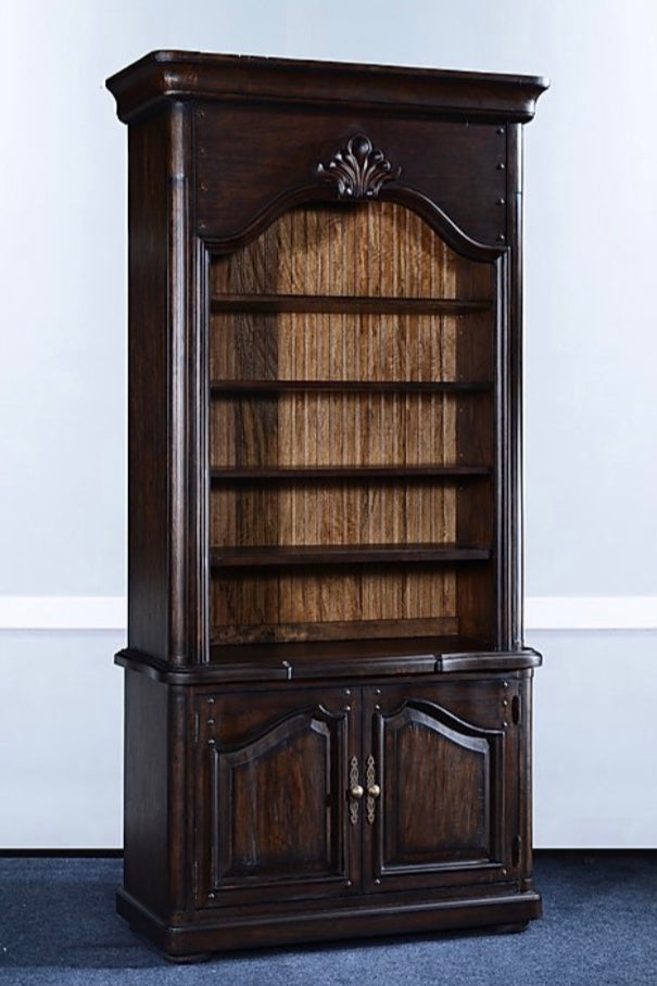 Old World Distressed Walnut Bookcase