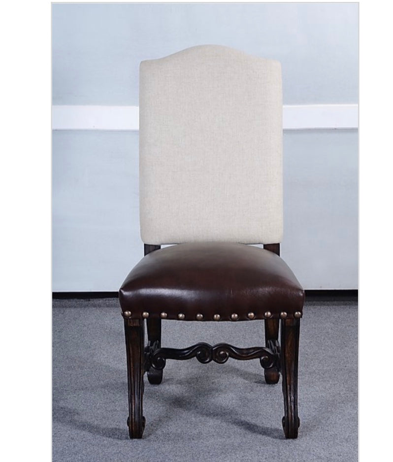 European Side Dining Chair Oatmeal Linen & Leather Seat Set of 2