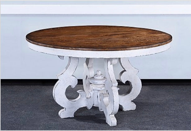 "Scroll Round Dining Table Pecan Top White Base 54"" or 60"""
