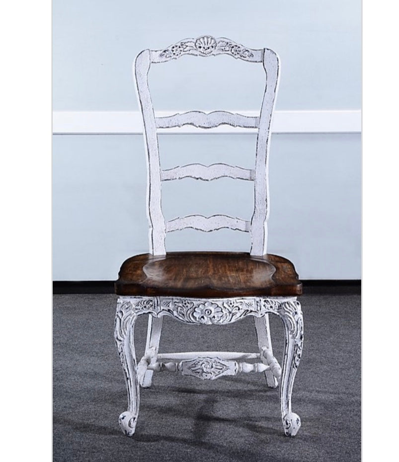 Farmhouse Tall Back Side Chair White Distressed Set of 6