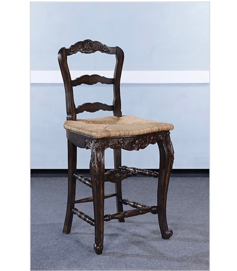 Farmhouse Walnut Rush Seat Counter Height Barstool Set of 3
