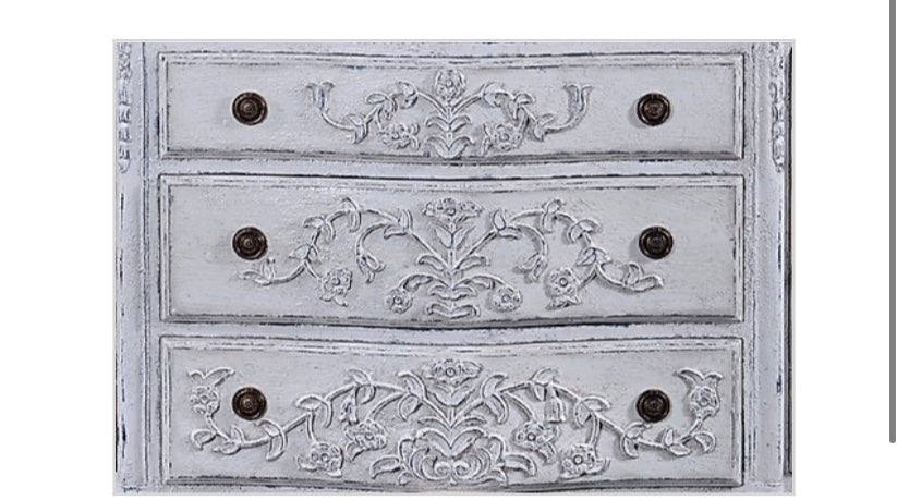 French Hand Carved Sideboard White Distressed