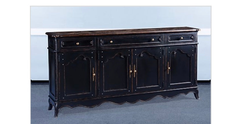 French Provincial Sideboard Blackwash Distressed