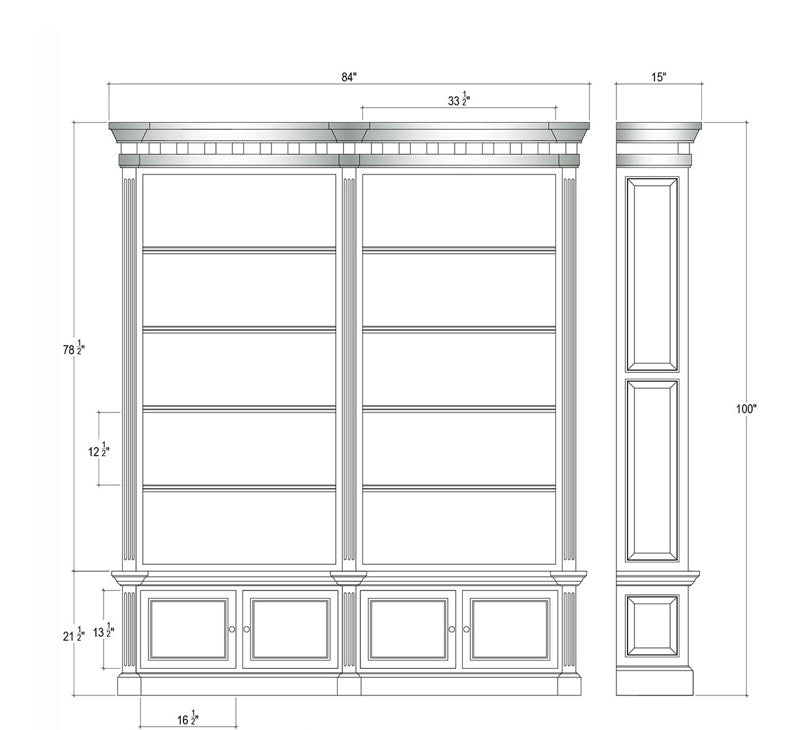 Farmhouse Open Bookcase Display Cabinet