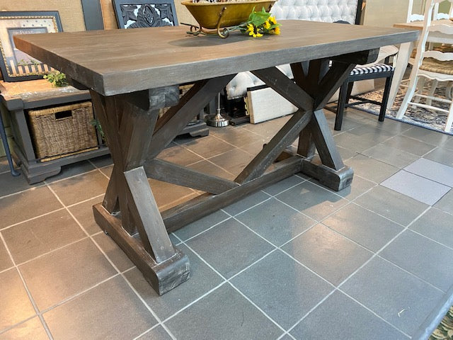 Industrial Counter Height Dining Table Cocoa Finish Rustic