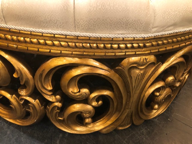 Hollywood Rococo Round Settee Gold Gilt - Furniture on Main