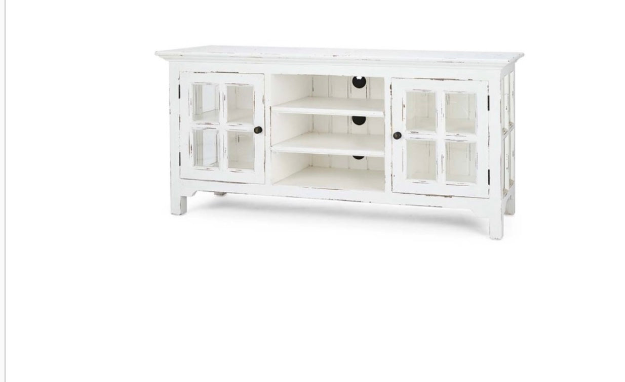 Windowpane Media Center Grey Mist White Distressed - Furniture on Main