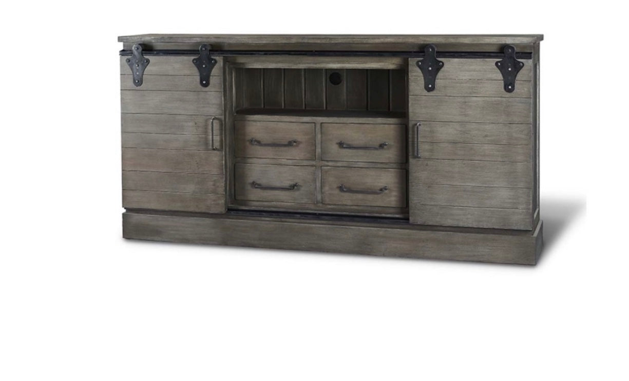 Large Sliding Door Media Center Smokey Grey - Furniture on Main