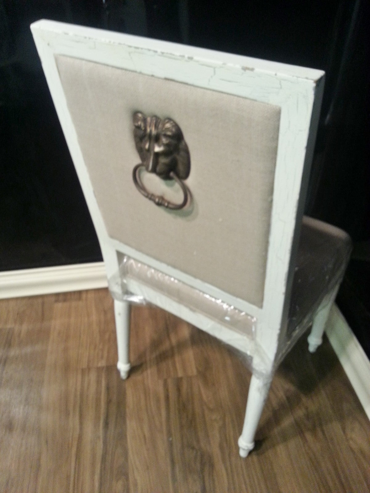 Steven Shell London Dining Chair w/ Lion Head White Crackle Gothic Set of 4
