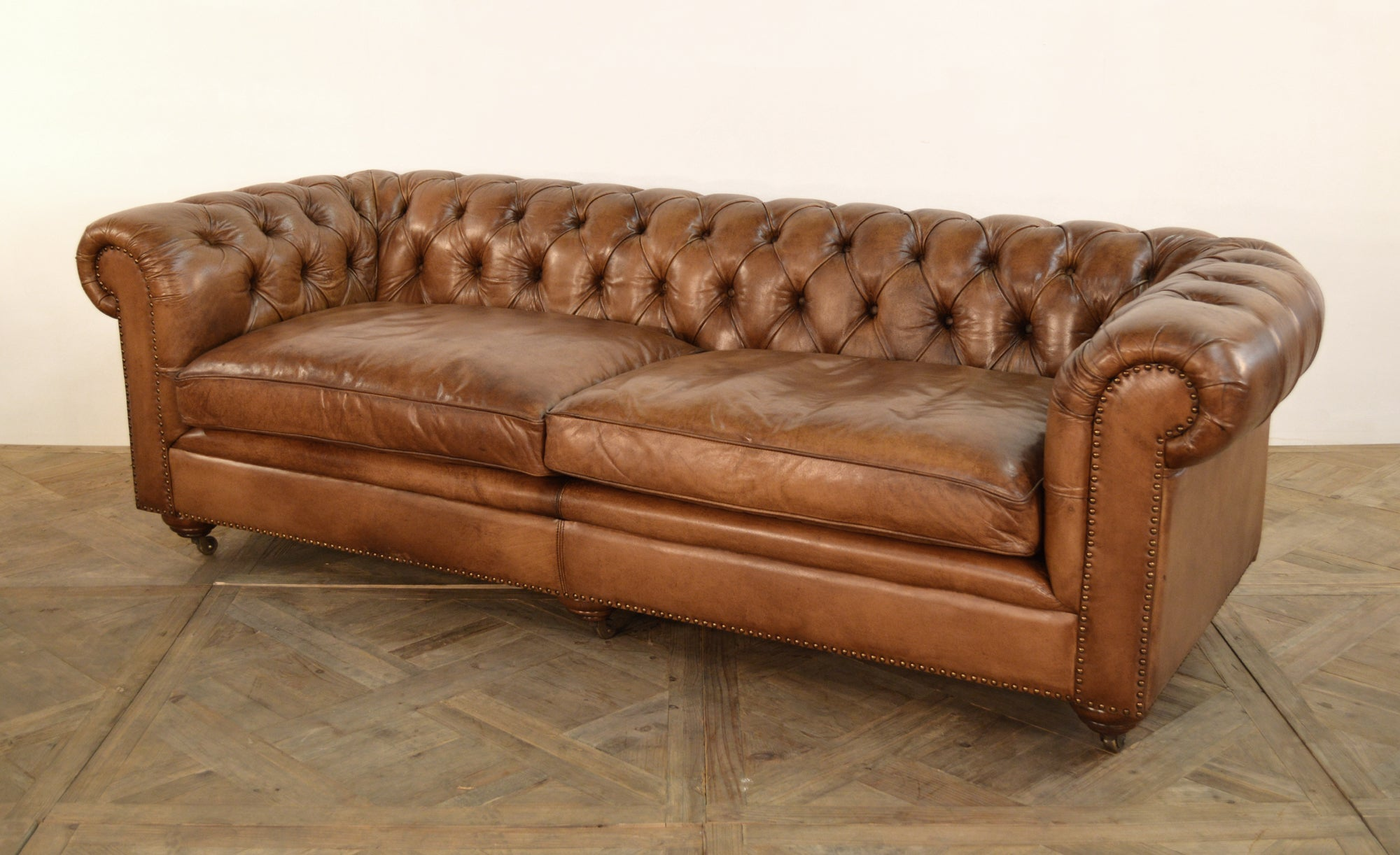 "Buffalo Brown Leather Sofa Chesterfield Style Button Tufted 96"" - Furniture on Main"