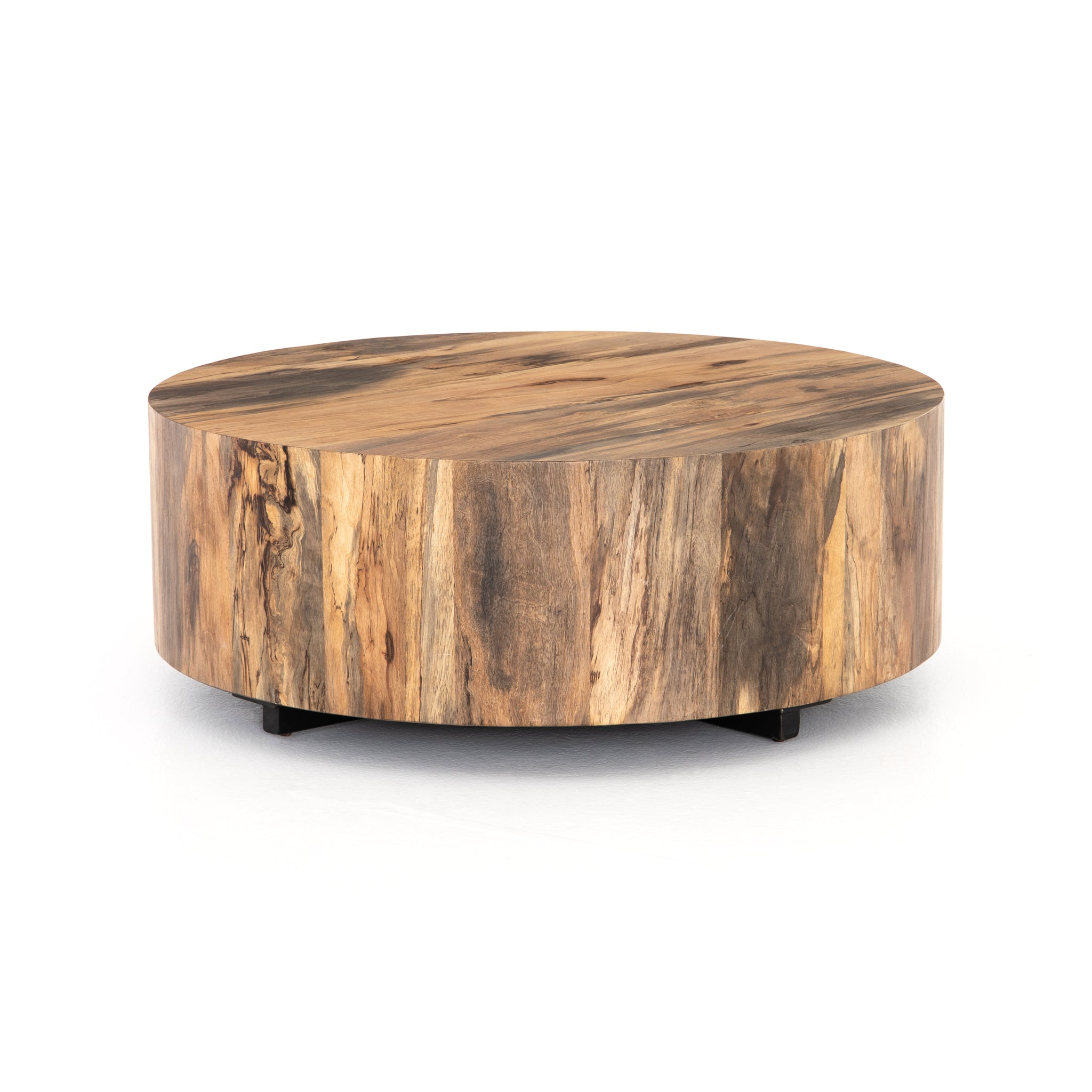 Round Spalted Primavera  Wood Top Cocktail Table - Furniture on Main