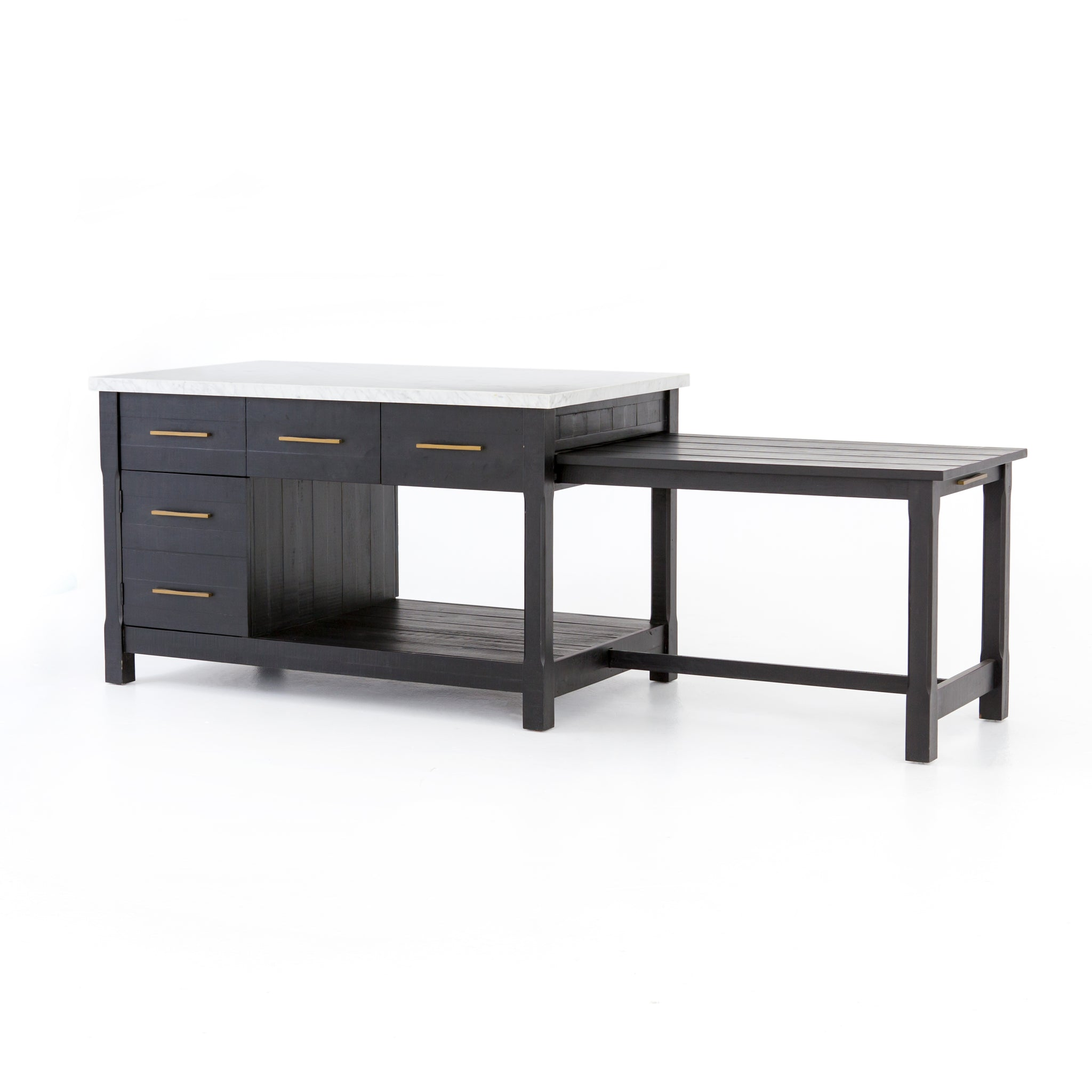 Multi Function Black Kitchen Island Marble Top With A Slide Out Dining