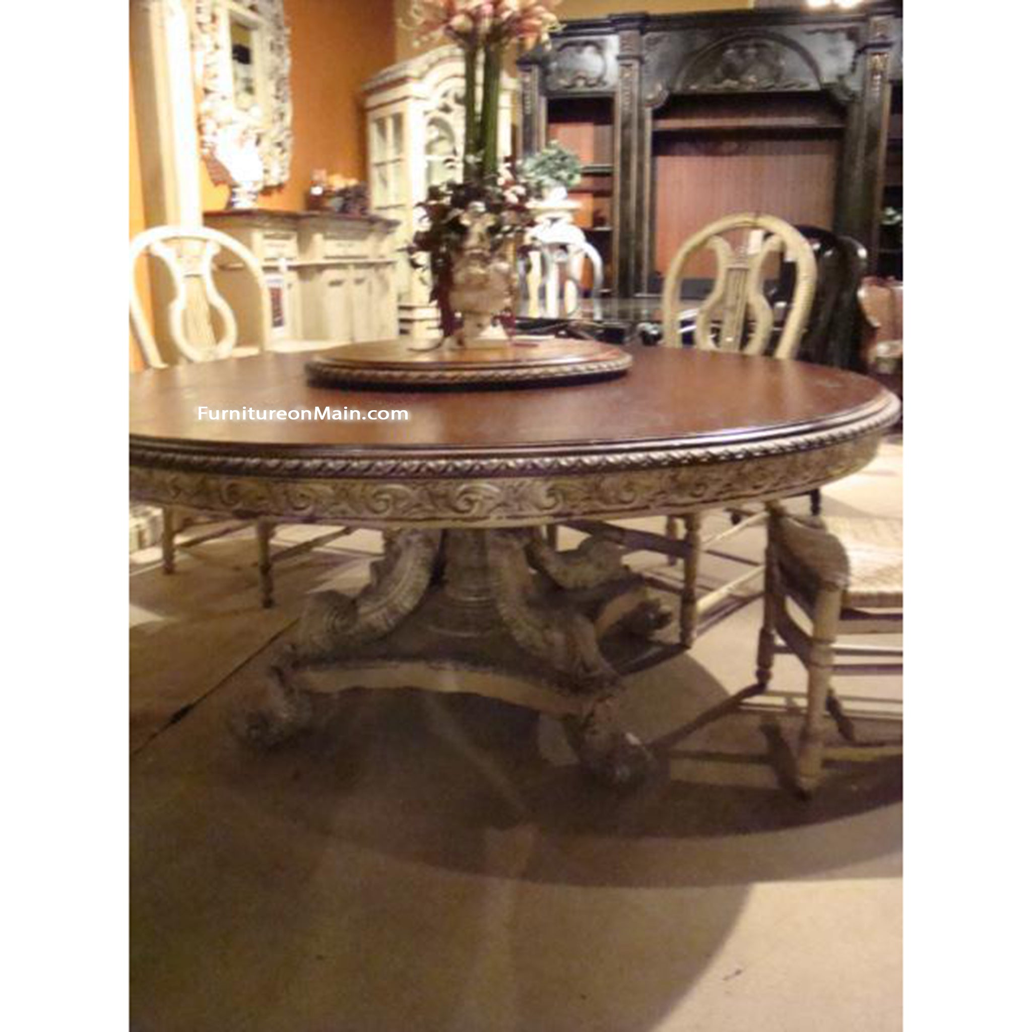 "Angelia Hand Carved Parchment Pedestal 60"" Dining Table"
