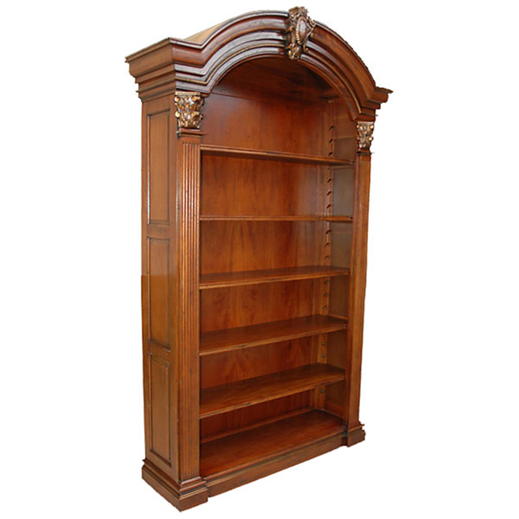Arched Elegant Bookcase Stained Finish