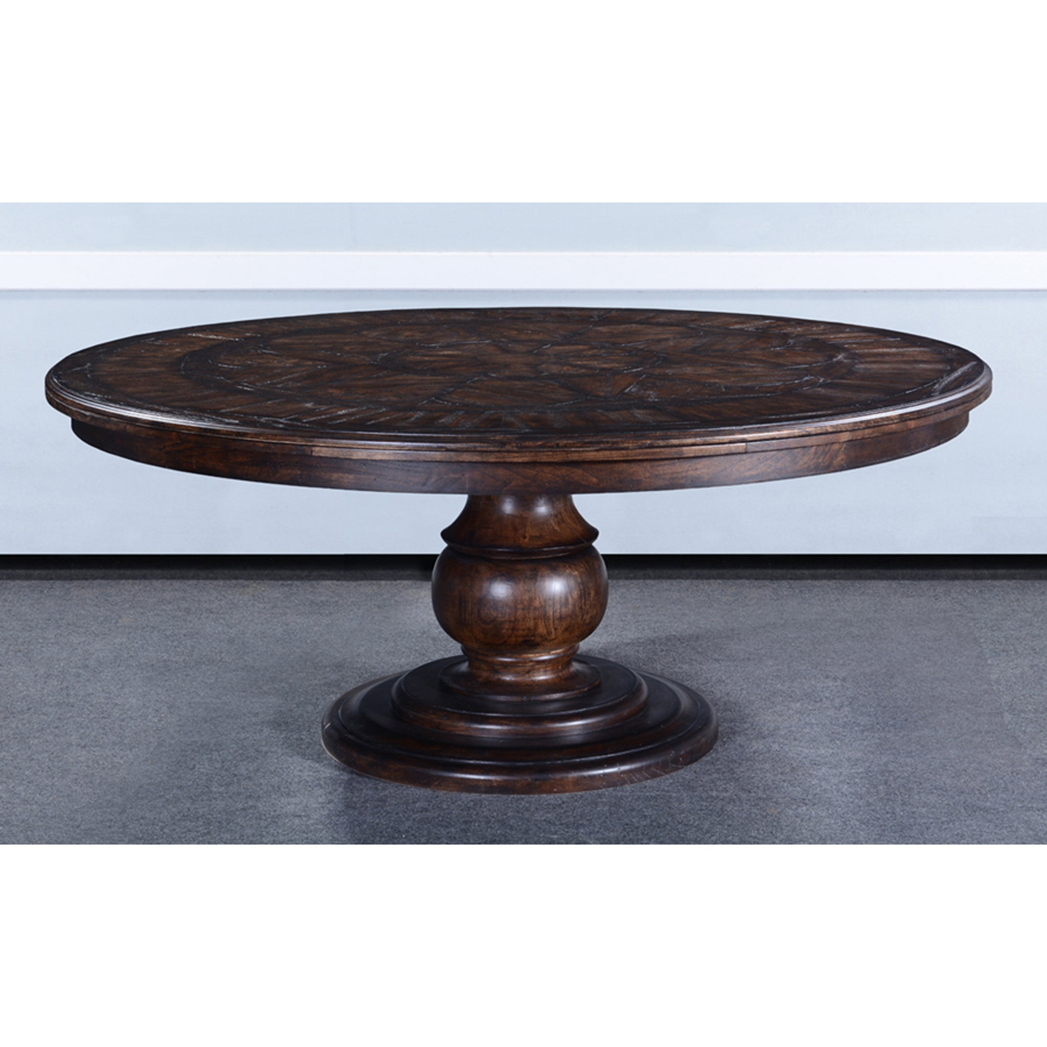 "Olde World Antique Walnut 72"" Round Dining Table - Furniture on Main"