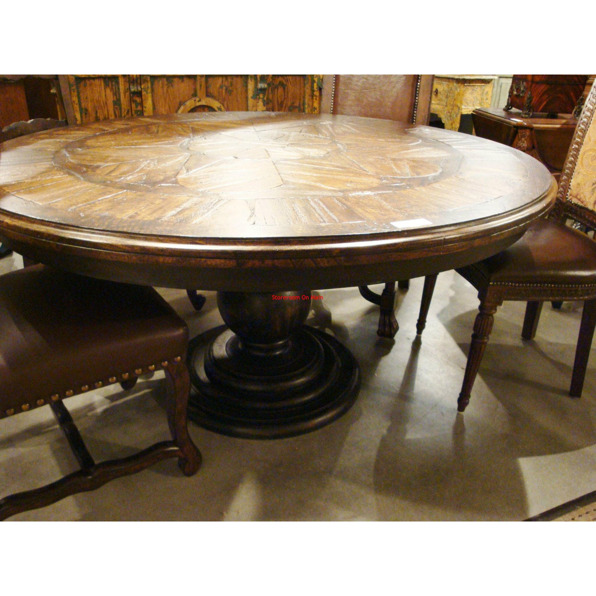 "Barcelona Black & Walnut 60"" Round Dining Table"