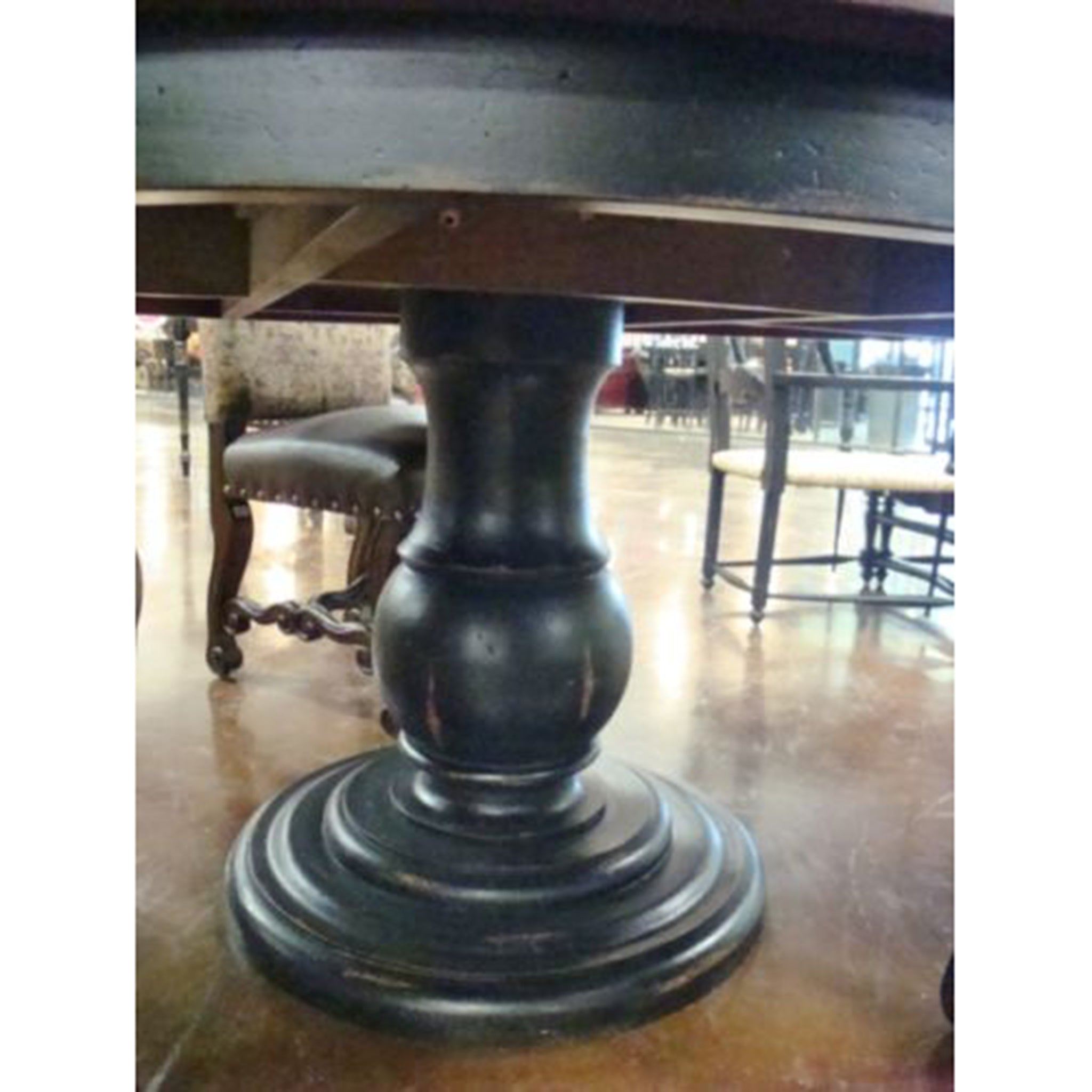 "Olde World Black & Walnut 60"" Round Dining Table - Furniture on Main"