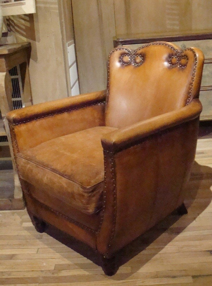Antique Buffalo Leather Club Chair
