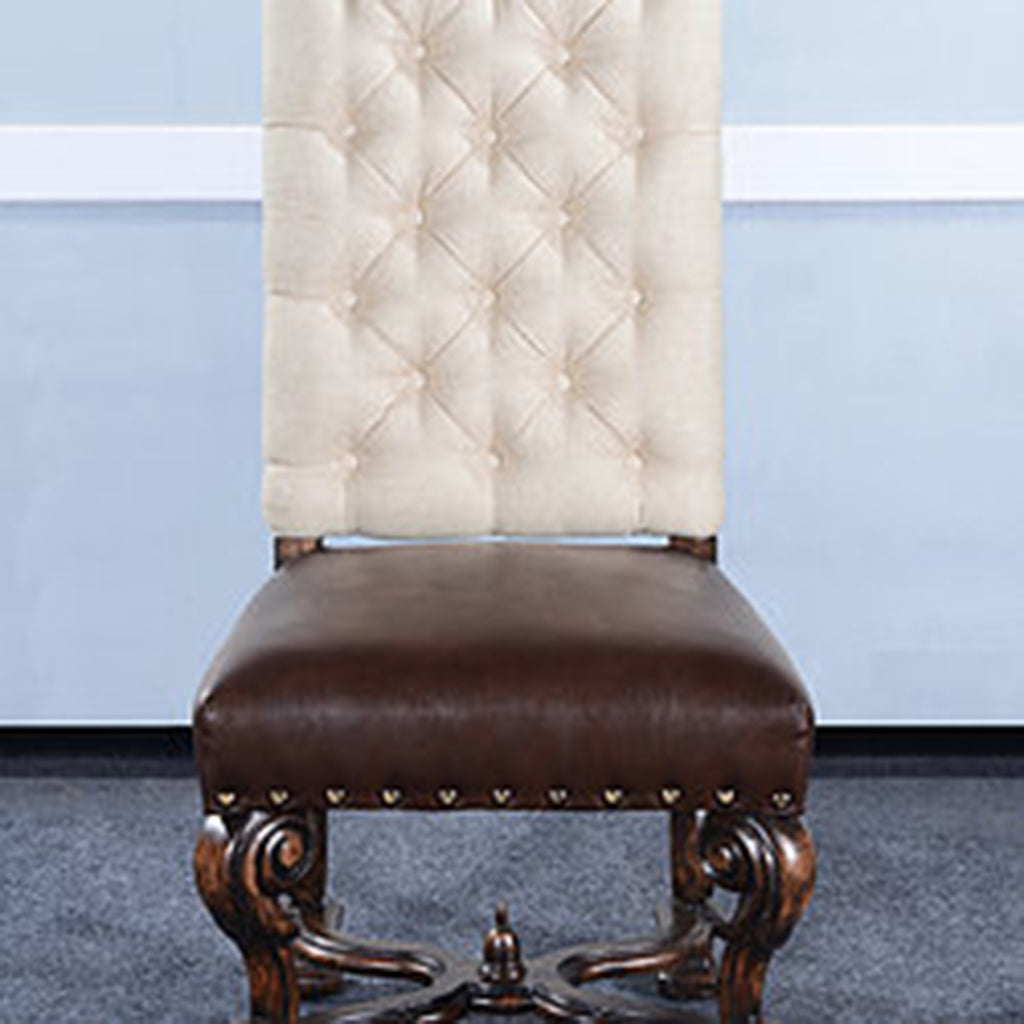 Olde World Button Tufted Ornate Side Chair Set of 2 Leather Seat - Furniture on Main
