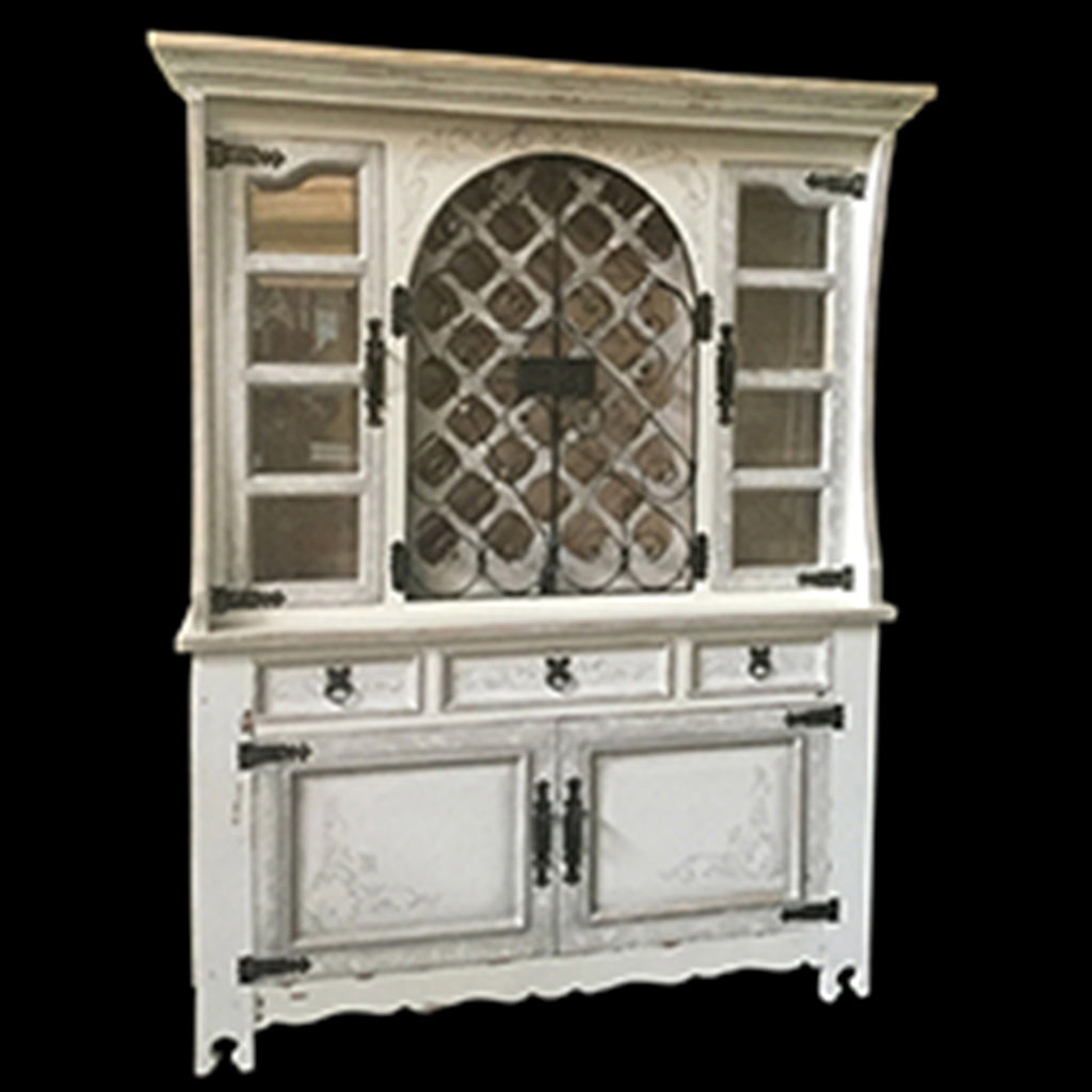 Cabo Hand Painted Buffet & Hutch Wine Cabinet