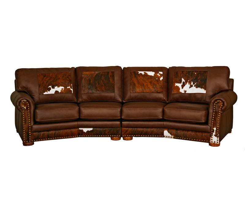Western Canyon Ridge Curved Leather Sofa Revelation Coco Loco