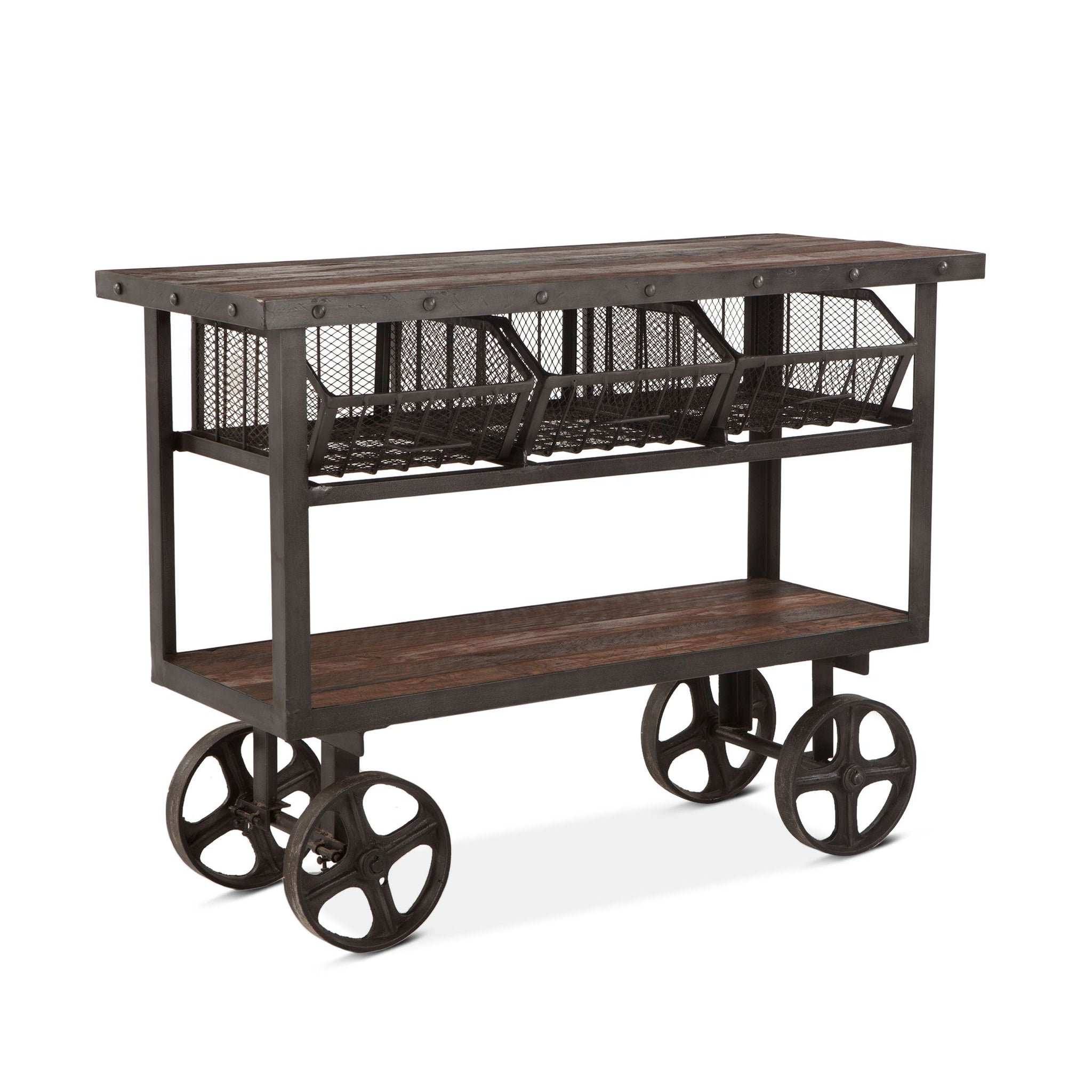 Reclaimed Industrial Console Sofa Table Kitchen Cart - Furniture on Main