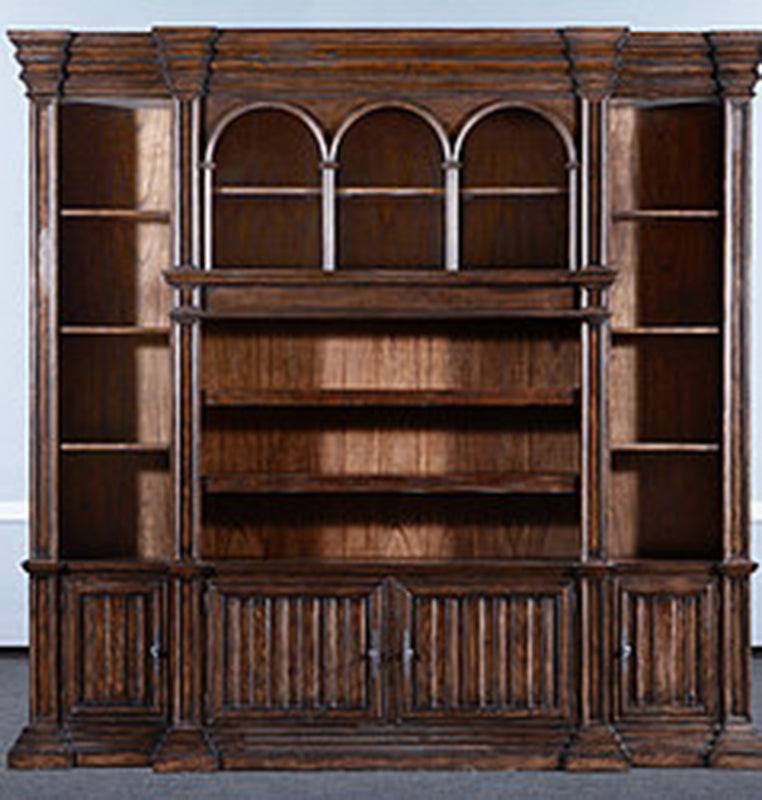 Aged Rustic Pecan Cathedral Entertainment Unit Bookcase