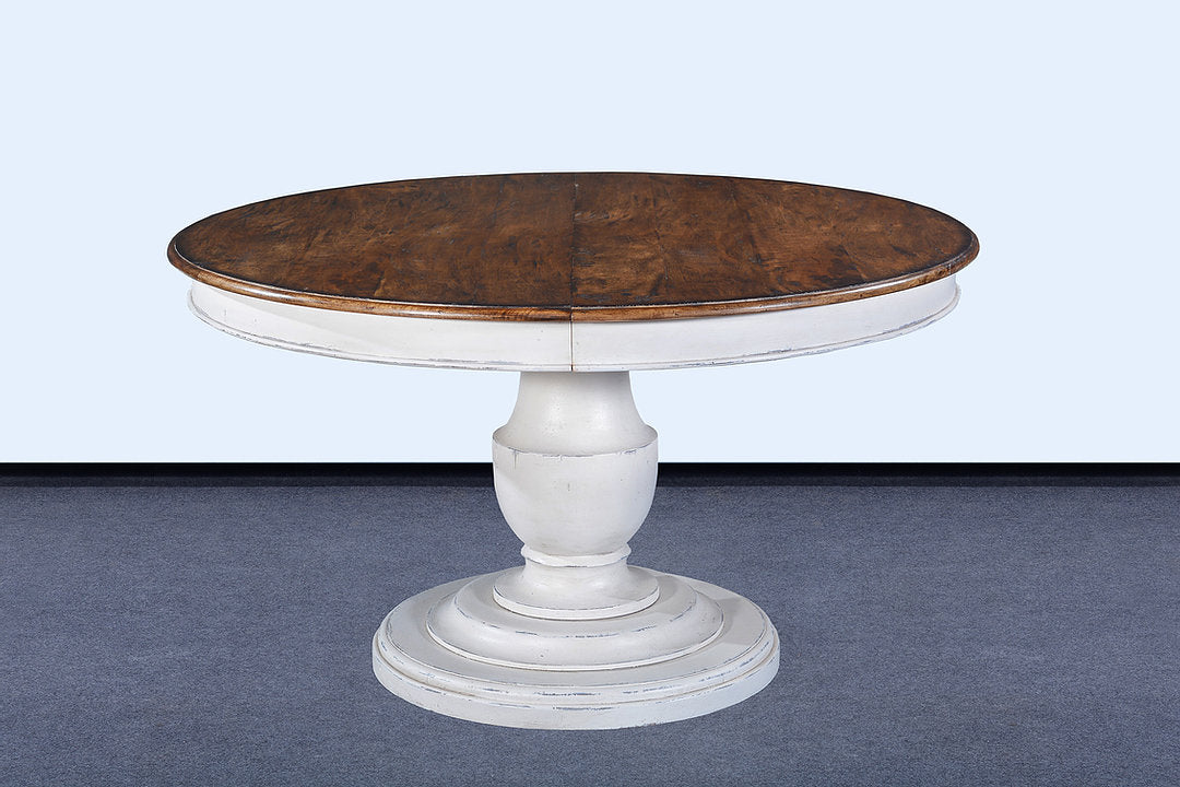 "54"" Scott Pedestal extension Dining Table White with Pecan Top"