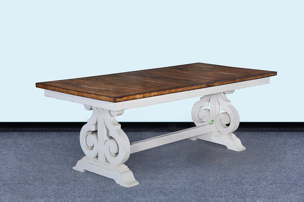 "French Scroll Base 84"" Dining Table Butterfly Leaf Antique White"