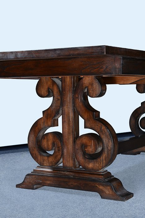 "French Scroll Base 84"" Dining Table Butterfly Leaf Dark Rustic Pecan"