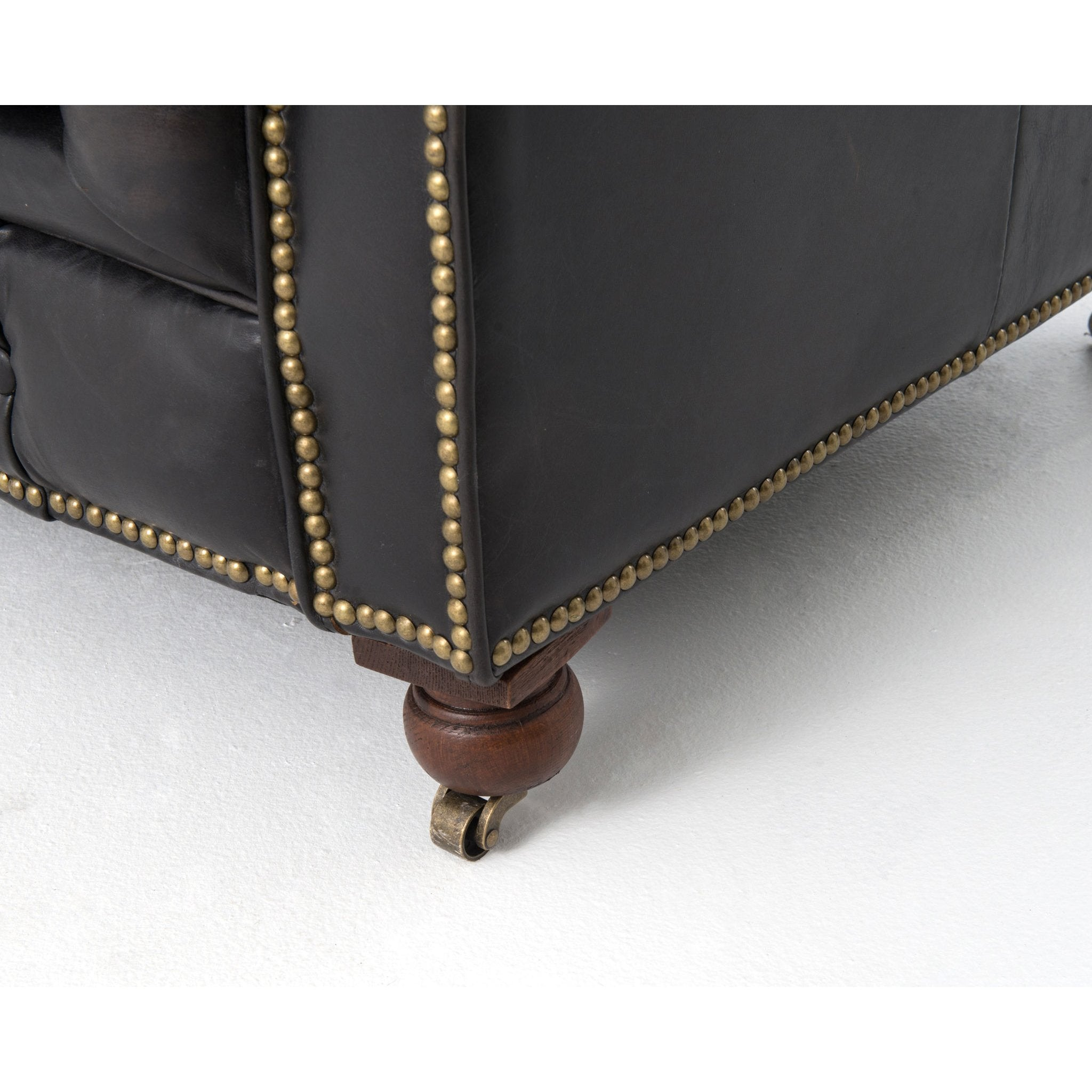 Chesterfield Style Button Tufted Leather Sofa Old Black 95.5\