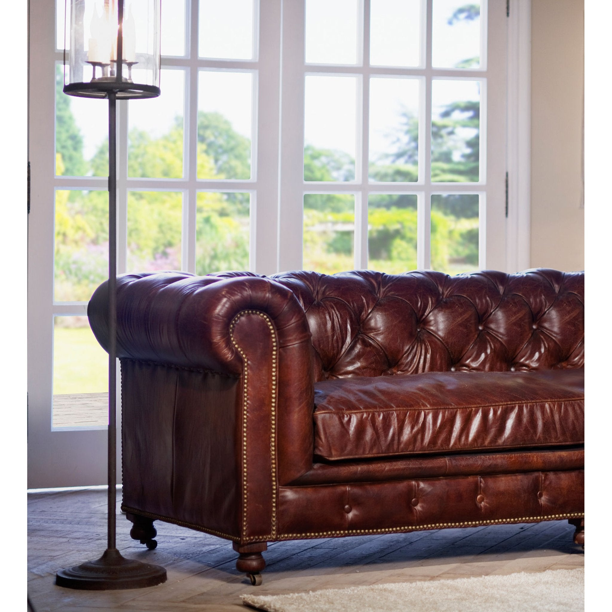 "Chesterfield Style Button Tufted Leather Sofa Vintage Brown 95.5"" - Furniture on Main"