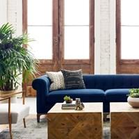 Chesterfield Style Button Tufted Sofa-Plush Navy Velvet - Furniture on Main