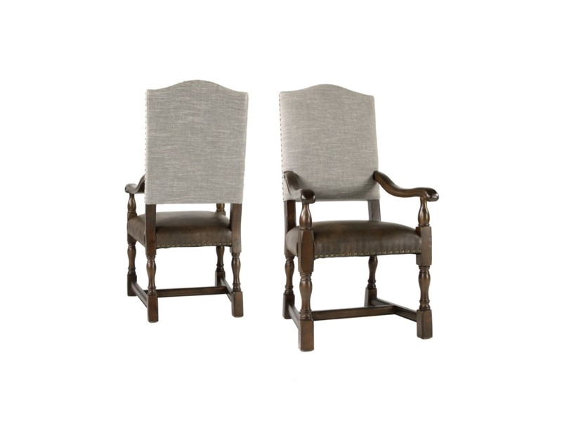 Jacobean Clay Linen Arm Chair set of 2