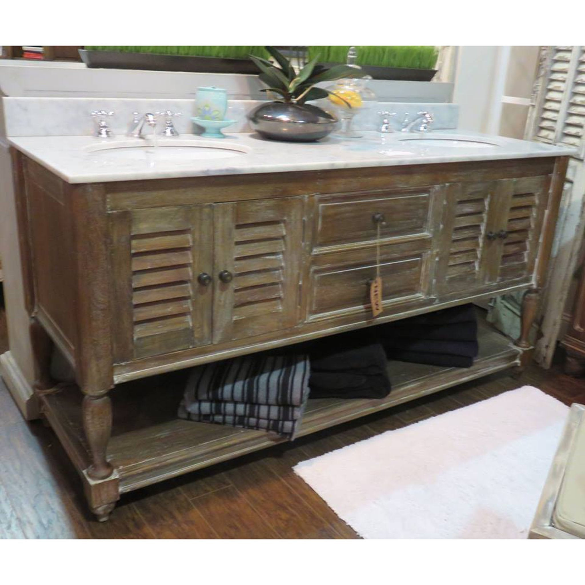 Cocoa Louvered Shutter Double Vanity Marble Top
