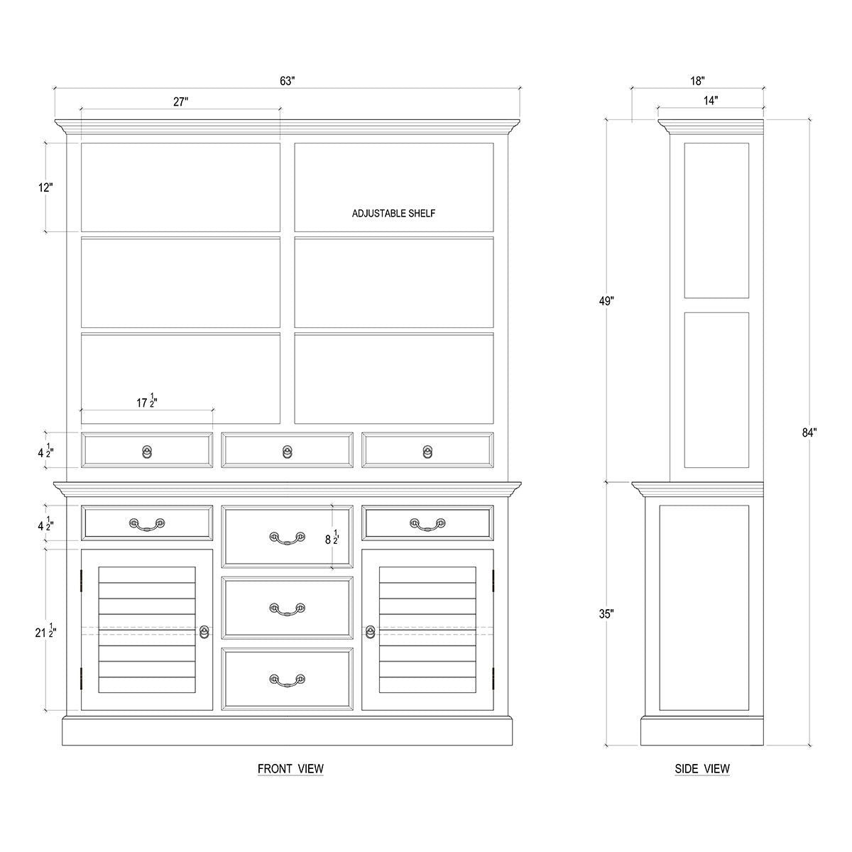 Distressed Cottage Farmhouse Open Kitchen Display Cabinet White - Furniture on Main
