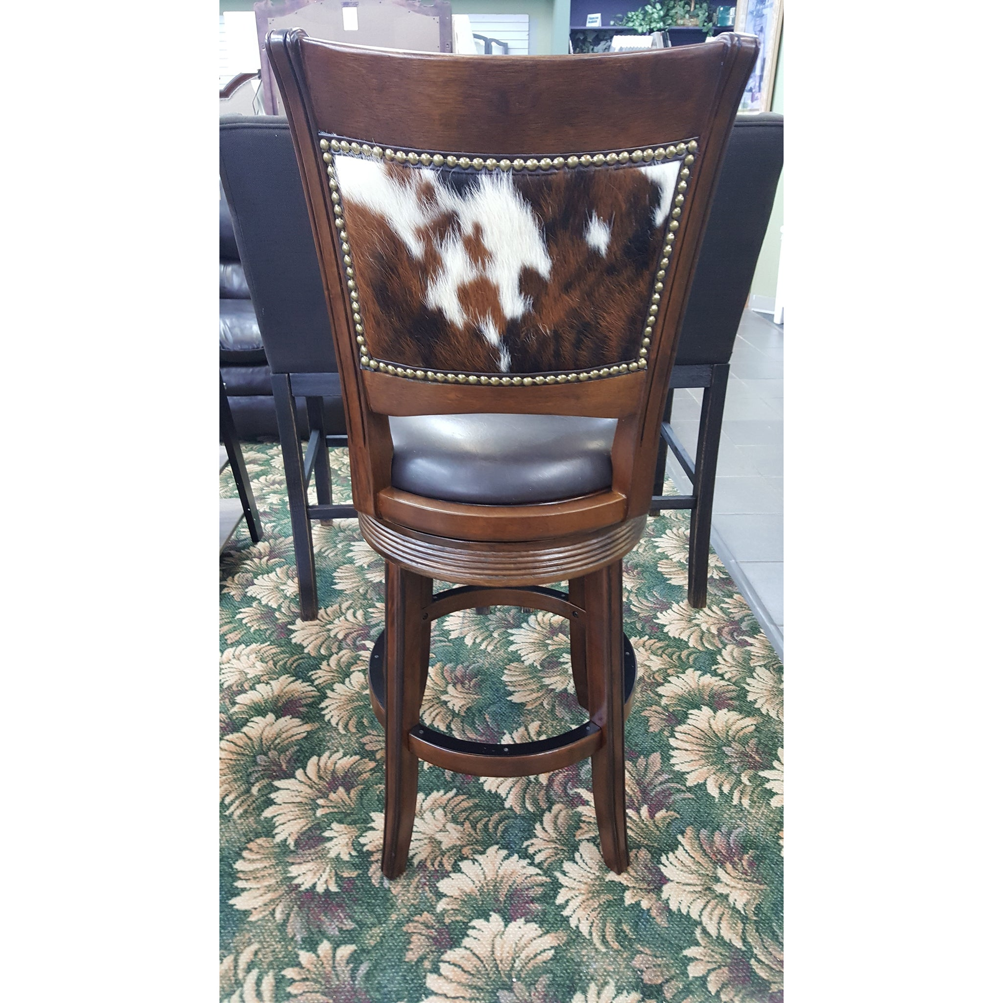 Cowhide Counter Height Upholstered Swivel Barstool Set of 3 - Furniture on Main
