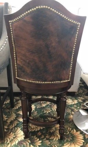 Cowhide Counter Height Upholstered Swivel Barstool Set of 4 - Furniture on Main