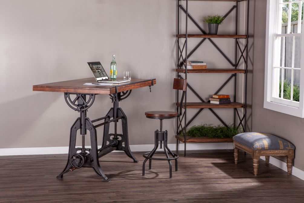Recycled Industrial Teak & Iron Desk - Furniture on Main